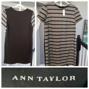 NWT Ann Taylor Short Sleeve Dress Black White